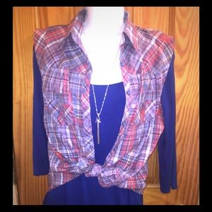New Forever 21, XXI sleeveless button down Plaid L